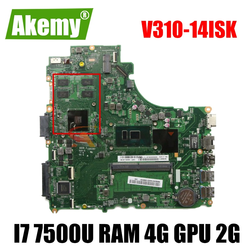 اللوحة الأم لينوفو V310-14ISK V310-14IKB V510-14IKB اللوحة المحمول DA0LV6MB6F0 مع وحدة المعالجة المركزية i7 7500U RAM 4G GPU 2G 100% اختبار