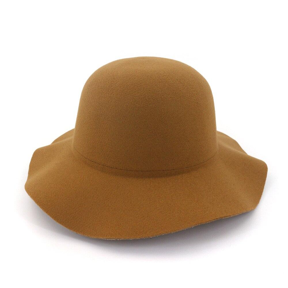 ¡Novedad de 2020! Sombrero de lana salvaje para mujer con borde ondulado, sombrero de jazz con borde grande, sombrero plegable de pescador deportivo a la moda con cúpula