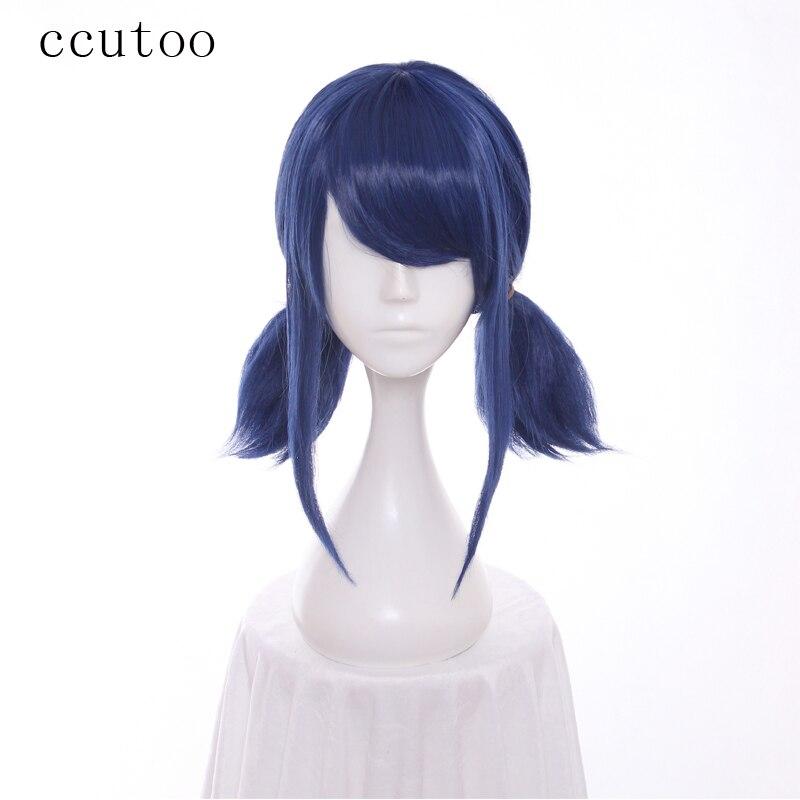 ccutoo perucas blue double rabo de cavalo peruca cosplay reta halloween resistente