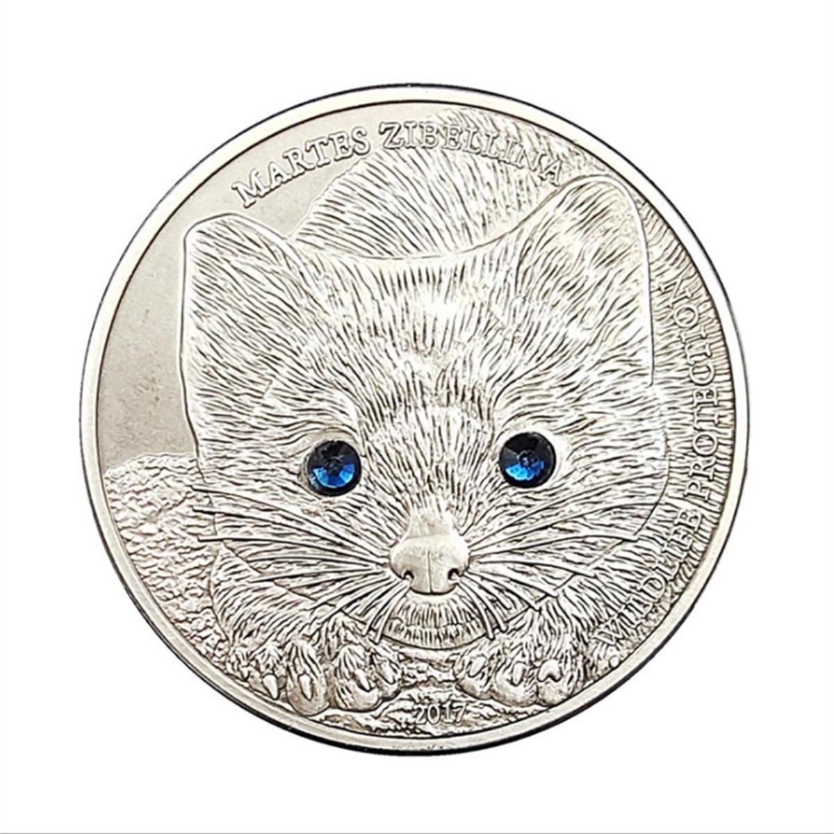 Монета в виде животного, подарок на удачу из конгои, соболиный, памятная монета, серебряная монета, поделки, Набор предметов для коллекциони...