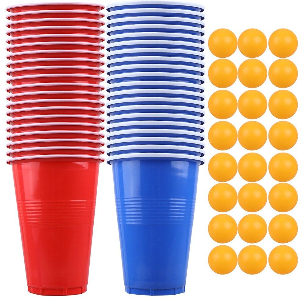 Juego de cerveza de juego Pong de 44 Uds., juego de pelotas de tenis, copas para juegos de mesa, suministros de fiesta para KTV Bar Pub (20 piezas Uds. Tazas y 24 Uds.)