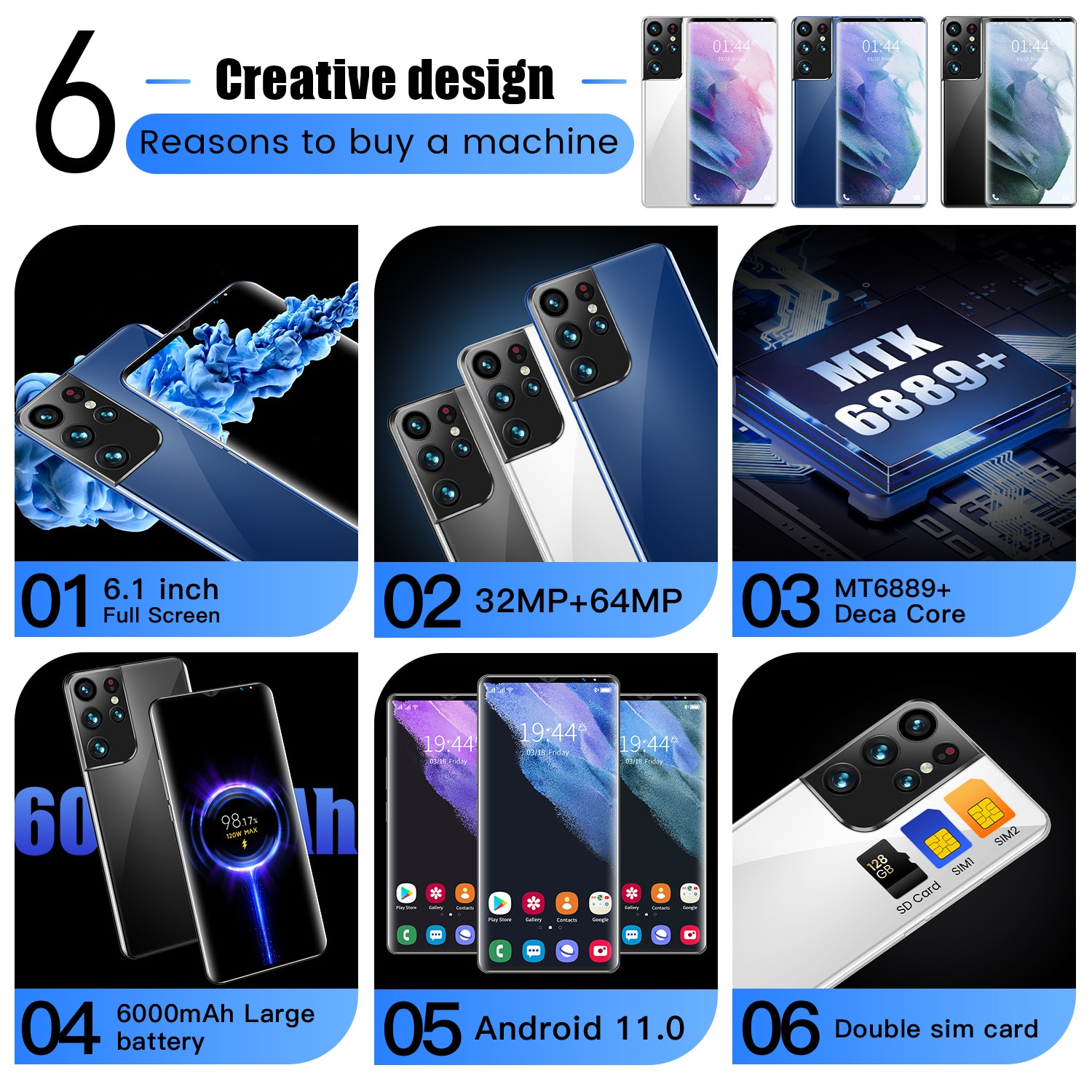 Global Version Smartphone S28 Pro+ 6.1 Inch 256GB/512GB Unlocked Android Mobile Phones 64MP Face ID GPS 4G/5G Smart Phone enlarge