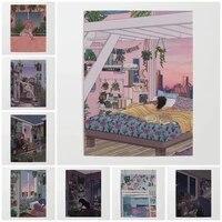 Peinture sur toile imprimee HD  decoration de la maison  affiche de fille et de chien  Art mural de salon  image modulaire sans cadre