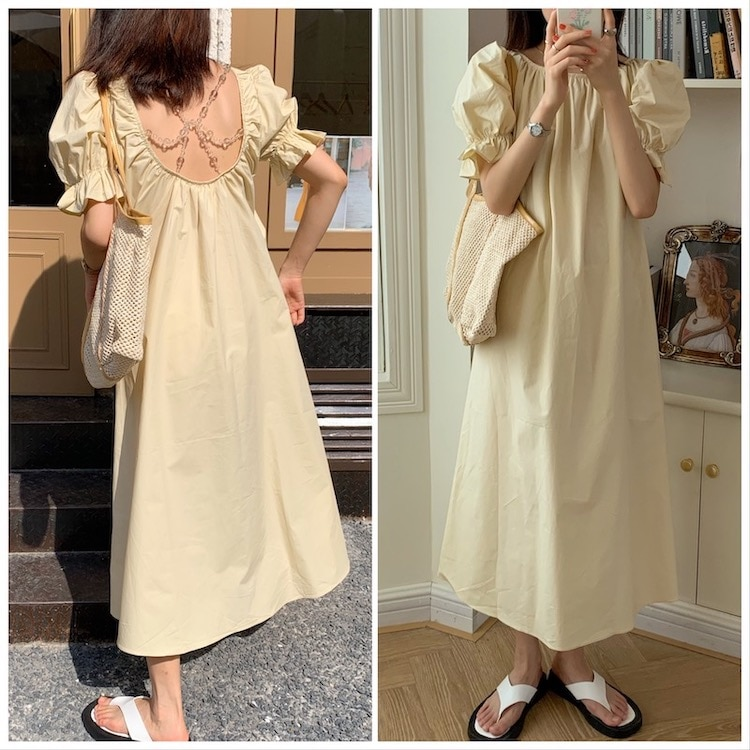 CMAZ 2021 Summer Casual Short Puff Sleeve Sweet Long Woman Backless Loose Streetwear Solid Color Dress 5339#