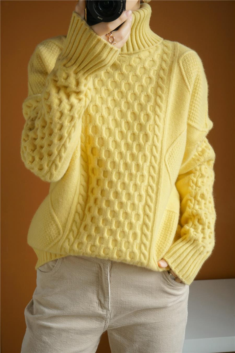 2020 Pullover Feminino Women's Winter Sweater Turtleneck Cashmere Women Pullover Pure Color Heavy Thick Twisted Flower New 100% enlarge