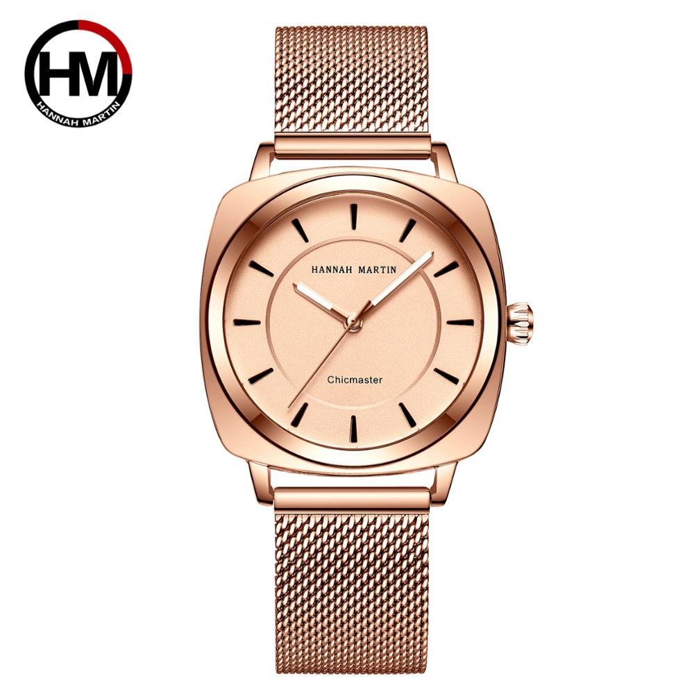 HM Women Watches Fashion Japanese Quartz Female Dress Waterproof Steel Strap Square Shape Round Dial Luxury WristWatches HM12 enlarge