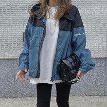 Autumn Jacket Women 2021 Korean Style Patchwork Zipper Letter Lapel Loose Coat Casual Ladies Winter