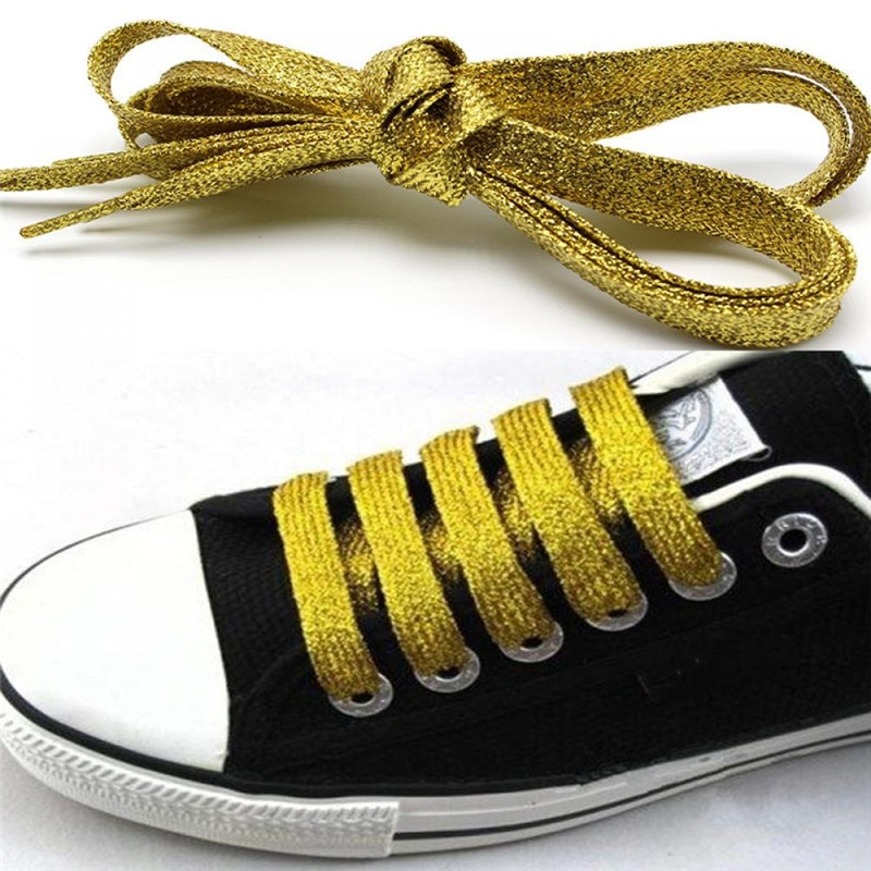 1Pair 110cm Shiny Flat Shoelaces Gold Silver Gold Thread Sport Bootlaces Sneakers Athletic Shoe Stri