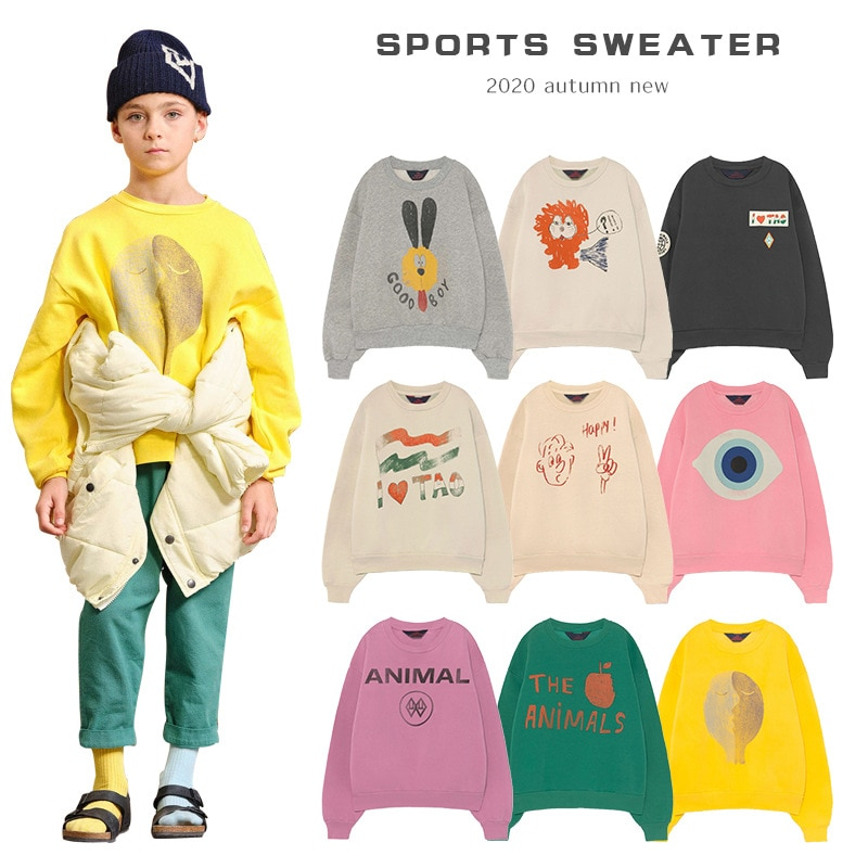 INS tide brand 2020 new hot boys' girls' sweaters children's autumn and winter clothes O-neck pullovers cotton sweaters