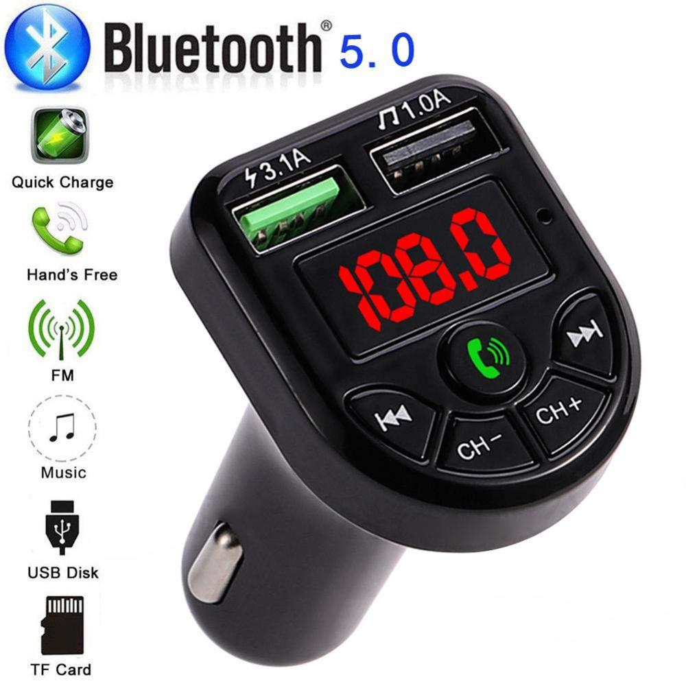 FM Transmitter Bluetooth 5.0 Car Kit LED Display Dual USB Car Charger 3.1A 2 Port USB MP3 Music Play