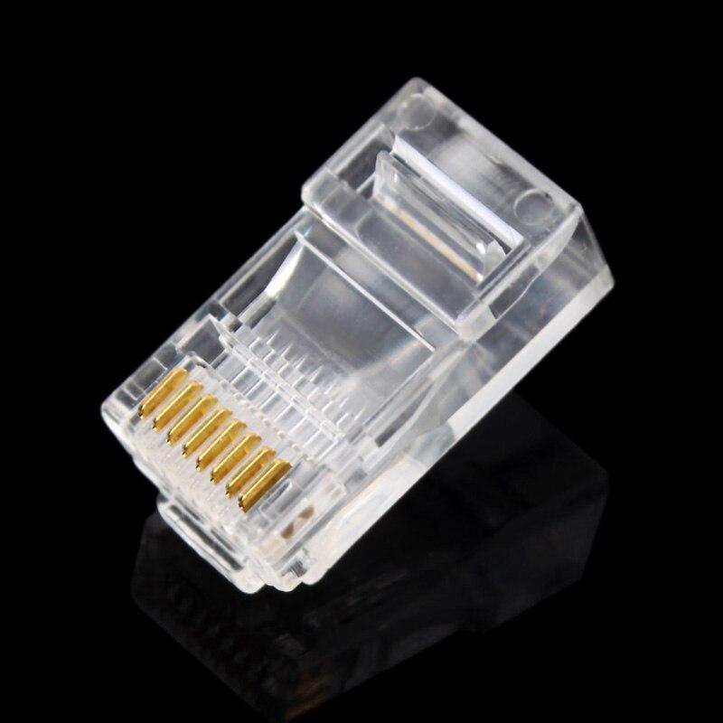 100 шт. 8P8C RJ45 модульный разъем для сети CAT5 LAN профессиональный и высококачественный #647