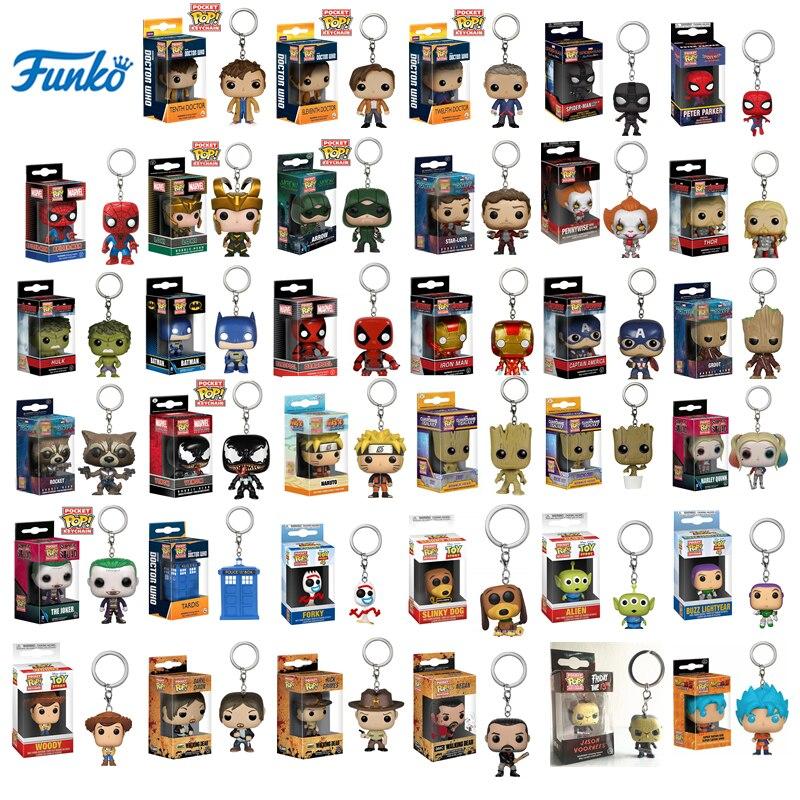FUNKO POP Pocket Toy Брелок Marvel Iron Man Groot Loki It Pennywise Doctor Who Naruto коллекционное кольцо для ключей модель подарки