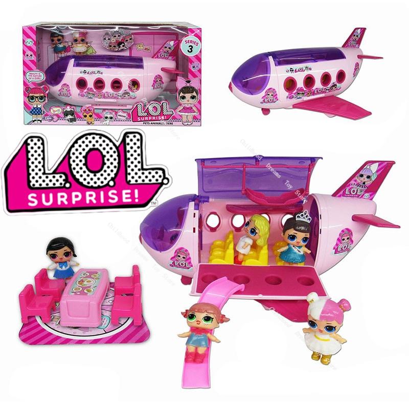 Original LOL Surprise avion jouets dessin animé pique-nique crème glacée voiture Action figurine modèle poupées jouets enfants fille garçon cadeaux danniversaire
