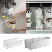 Caja de almacenamiento para debajo del fregadero de la cocina, organizador colgante de pared para especias, cajón, estante, botellas, armario, 1/2/3 piezas