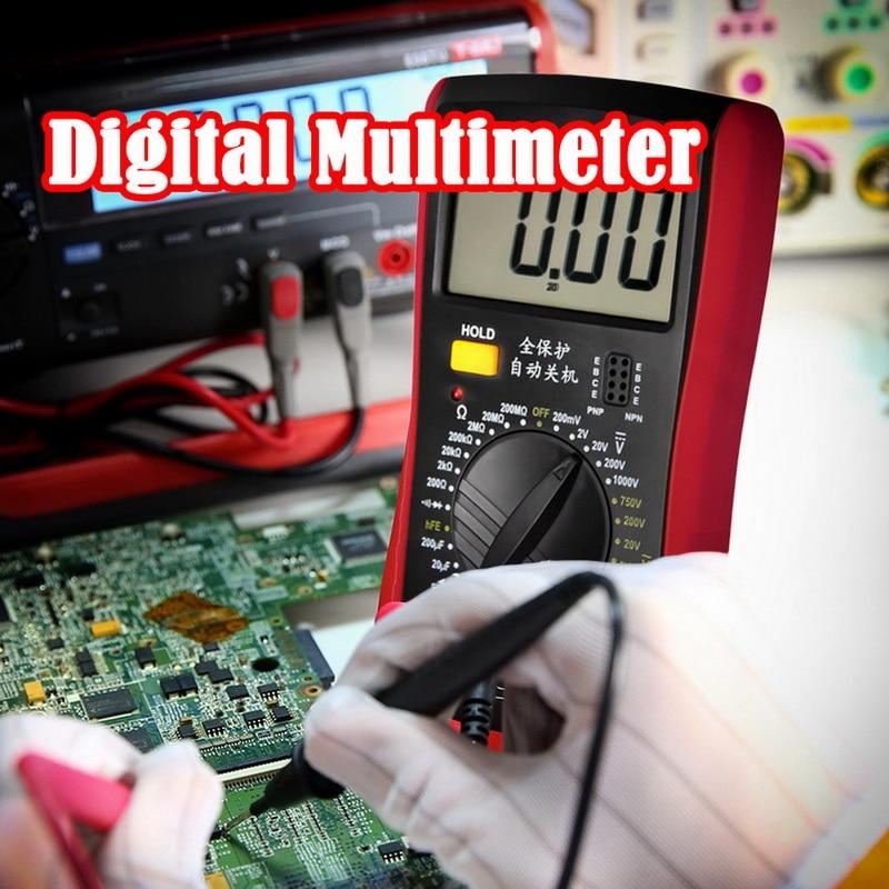 1 Uds. Multímetro Digital LCD voltímetro amperímetro ohmímetro DC10V ~ 1000V 10A AC 750V probador de corriente pantalla LCD de prueba A9205B