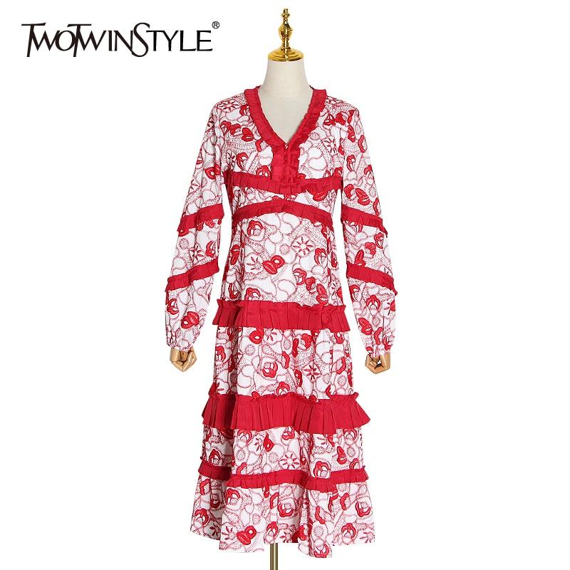 TWOTWINSTYLE bordado Patchwork volantes vestidos de mujer cuello V linterna de manga larga de alta cintura vestido de fiesta ropa de moda femenina