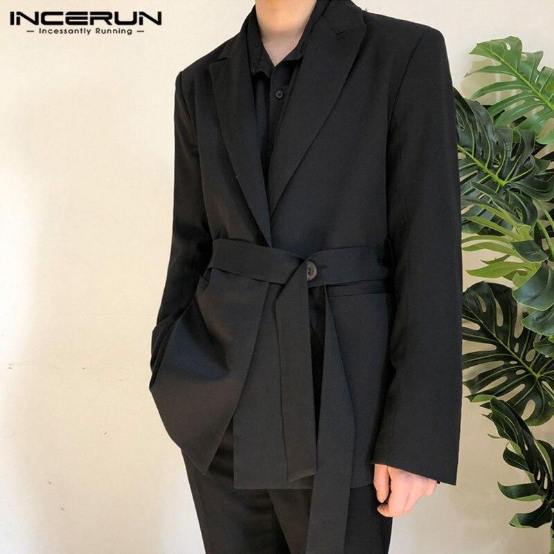 بدلة غير رسمية للرجال من INCERUN بلون كوري وأكمام طويلة مع حزام وسترة للرجال ذات أكمام طويلة 7