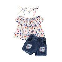 opperiaya infant ruffle t shirt hole denim shorts ice cream print independence day decoration elastic waist summer clothing