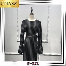 Middle Eastern High Quality Fashion Muslim Dubai Black Striped Flared Sleeve Dress Abaya Turkey For Women  Long Sleeve Dress