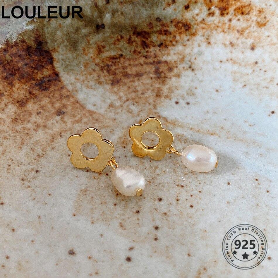 Louleur 925 prata esterlina flor brincos estrangeiro pérola simples brincos diários para as mulheres na moda jóias prata 925 moda j