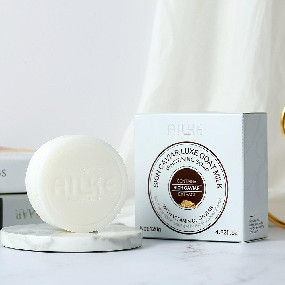 AILKE Bath Soap Whitening Cleaning goat milk vitamin c caviar bubbles Body Skin care wash shampoo jabones artesanales glicerina