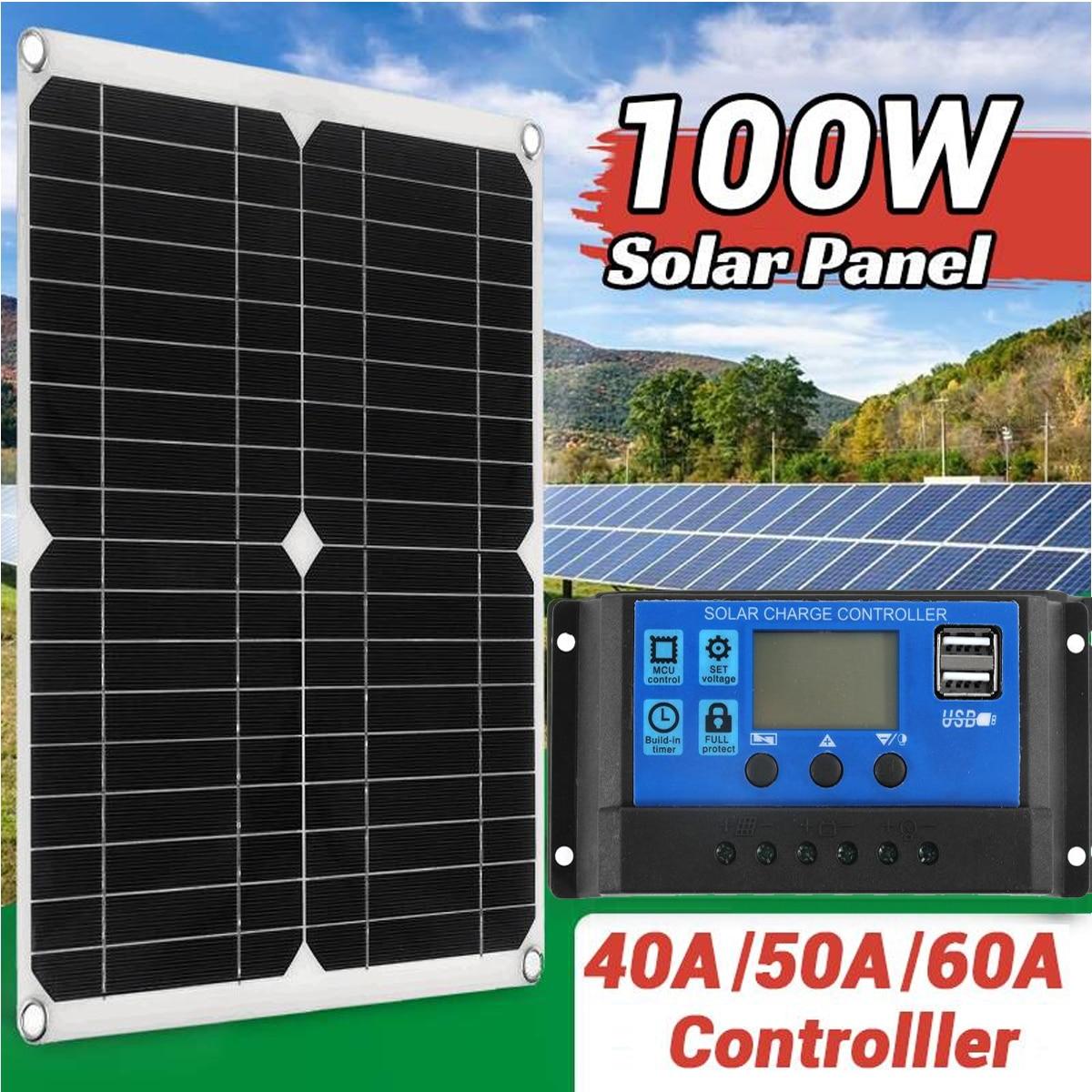 100 واط لوحة طاقة شمسية مزدوجة USB مع تحكم 12 فولت المحمولة قوة البنك الشمسية شاحن للهاتف الذكي شاحن سيارة مخيمات قارب RV