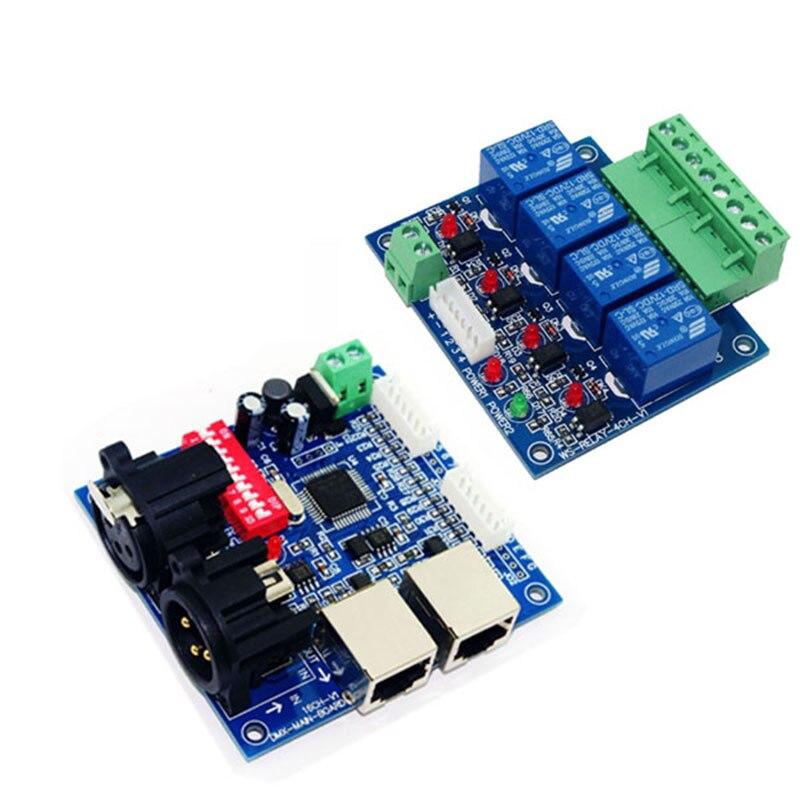 Decodificador Led 4CH dmx512 DC12V relés placa principal y controlador de interruptor de canal de DMX-RELAY-4 uso para luz led para lámpara