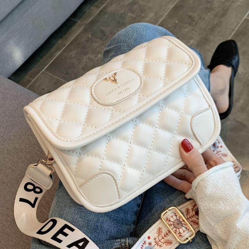 Diamond Lattice Crossbody Bags for Women Luxury Soft Leather Handbags Quilted Plaid Messenger Bag Wide Shoulder Strap Female Bag