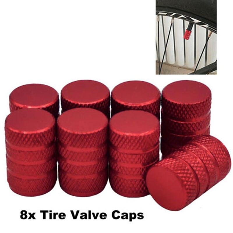 Mayitr 8 Uds de aluminio rojo de la motocicleta del coche de llantas de neumáticos madre tapas de válvula de aire cubierta para camión de Auto Scooter
