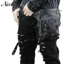 Gothic Men Skull Messenger Shoulder Bags Leather Waist Leg Drop Bag Punk Rock Motorcycle Thigh Hip Belt Bags Male Purse Pouch