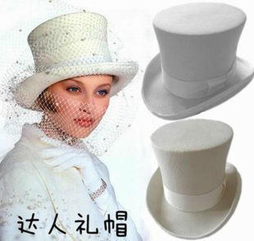 2020 New Wool Retro Felt Pork Pie Hat for Women Wool Cap White Ribbon Band Bowler Fedoras Bowler Hat Men Magic Hat Cap High 18CM