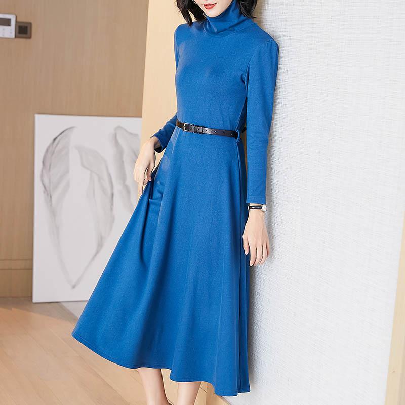 Women's long-sleeved dress 2020 new autumn winter plus size waist thin long plus velvet  sexy dress women  Vintage 1005002049900148 фото