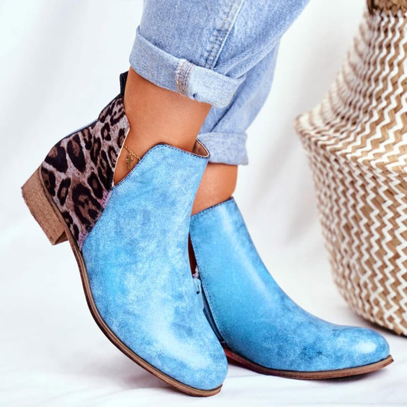 Fashion Women Boots Winter Retro Ankle Leisure Leopard Comfortable Ladies Shoes Plus Size Botas Mujer