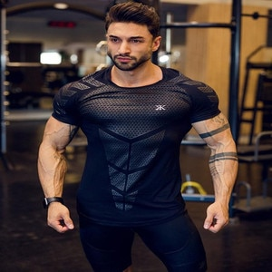 Fitness Clothes Coach Sports T-shirt Tights Male Brothers High-elastic Training Quick-drying Short-sleeved Fitness Clothes Men
