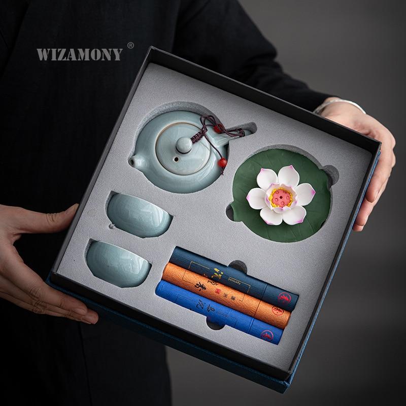 WIZAMONY جديد النمط الصيني Guochao جيياو طقم شاي من السيراميك الرجعية الثقافية والإبداعية افتتاح الأنشطة هدية شعار مخصص