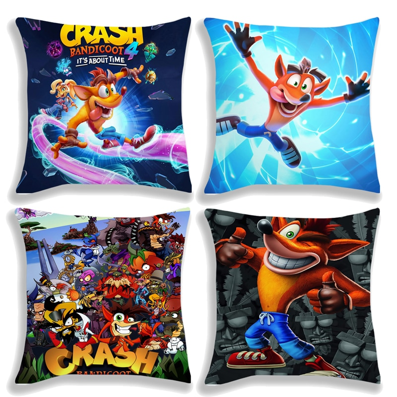 Crash Bandicoot On the Run! Pillow Case Cushion Cover 45*45cm Polyester Home Decorative No Insert