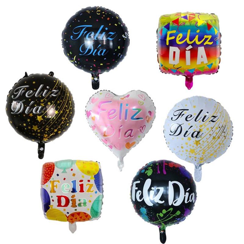 10Pcs 18inch Spanish Feliz Dia Foil Balloon Happy Birthday Party Decoration Adult Wedding Round Helium Baby Shower Kids Globos