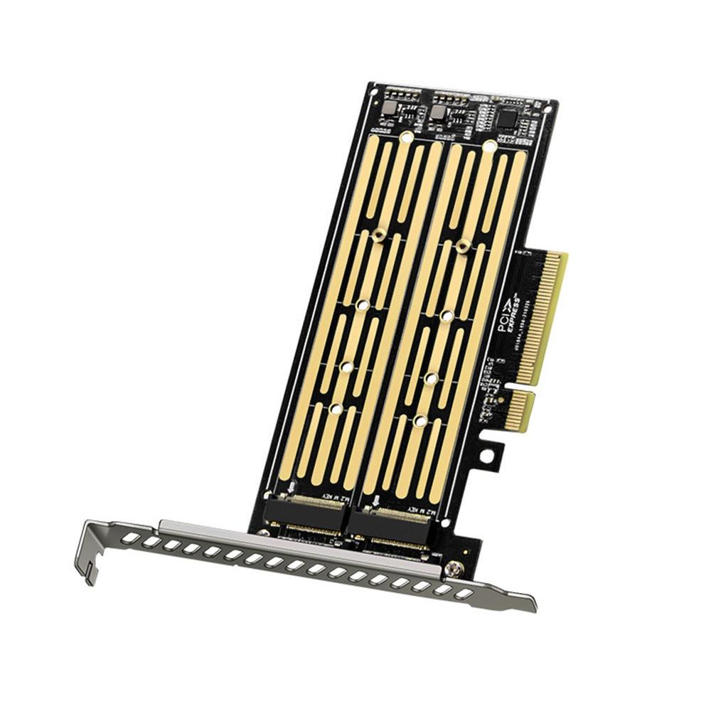 وصل حديثًا 2 بطاقة Riser M.2 NVME إلى PCI-E X8 محرك القرص الصلب المزدوج SSD محول بطاقة التوسع ل PCIE X8 X16K فتحة اللوحة الأم