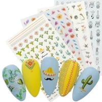 1 sheet 3d cactus nail decals flowers bunny fawn adhesive sticker manicure diy slider foils nail decoration