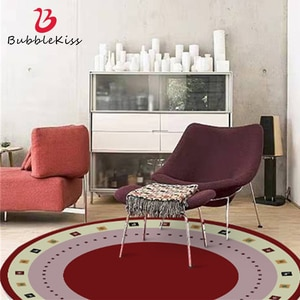 Bubble Kiss Nordic Style Round Carpets In The Living Room Home Decor Red Non-slip Customized Rugs Bedroom Delicate Carpets