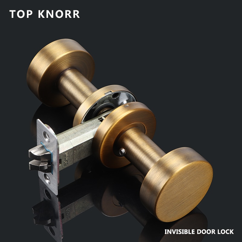 TOPKNORR قفل الباب مقبض الباب على الوجهين 304 الفولاذ المقاوم للصدأ داخلي غرفة نوم المنزلية قفل الباب مكافحة سرقة قفل أمان للأبواب