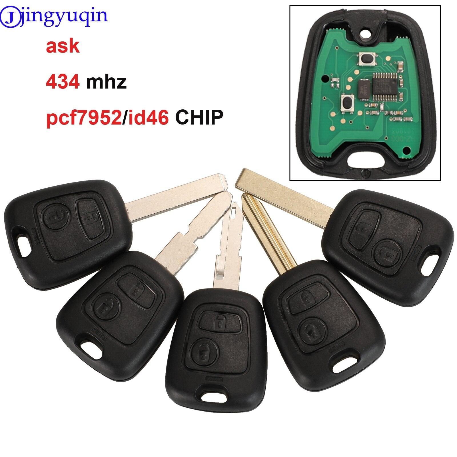 Jingyuqin 2 Tasten FRAGEN Remote Key Fob Controller Für PEUGEOT 206 433MHZ Mit PCF7961 Transponder Chip
