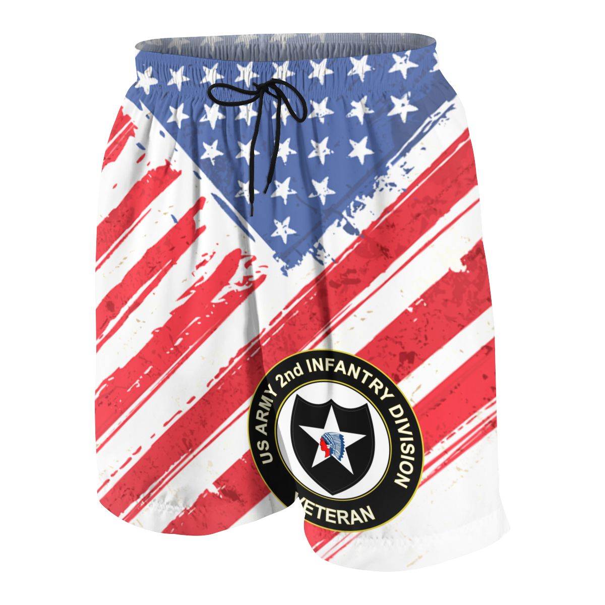 US Army Veteran 2nd Infantry Division Summer Young Shorts Cotton For Beach Short Sports Pants 3D Print Elastic Fashion Leisure