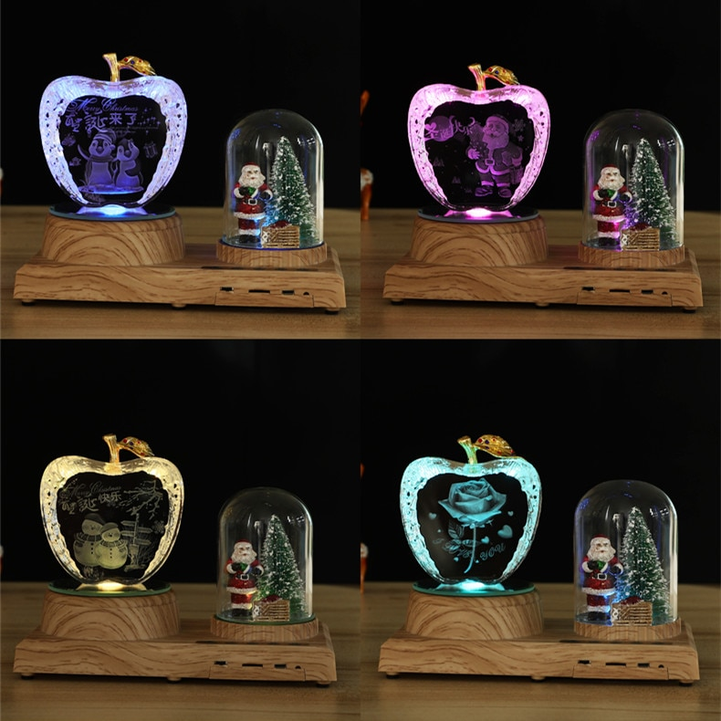 Christmas birthday gift custom photo LED night light wooden base crystal photo MP3 music rotatable display Bluetooth RGB light enlarge