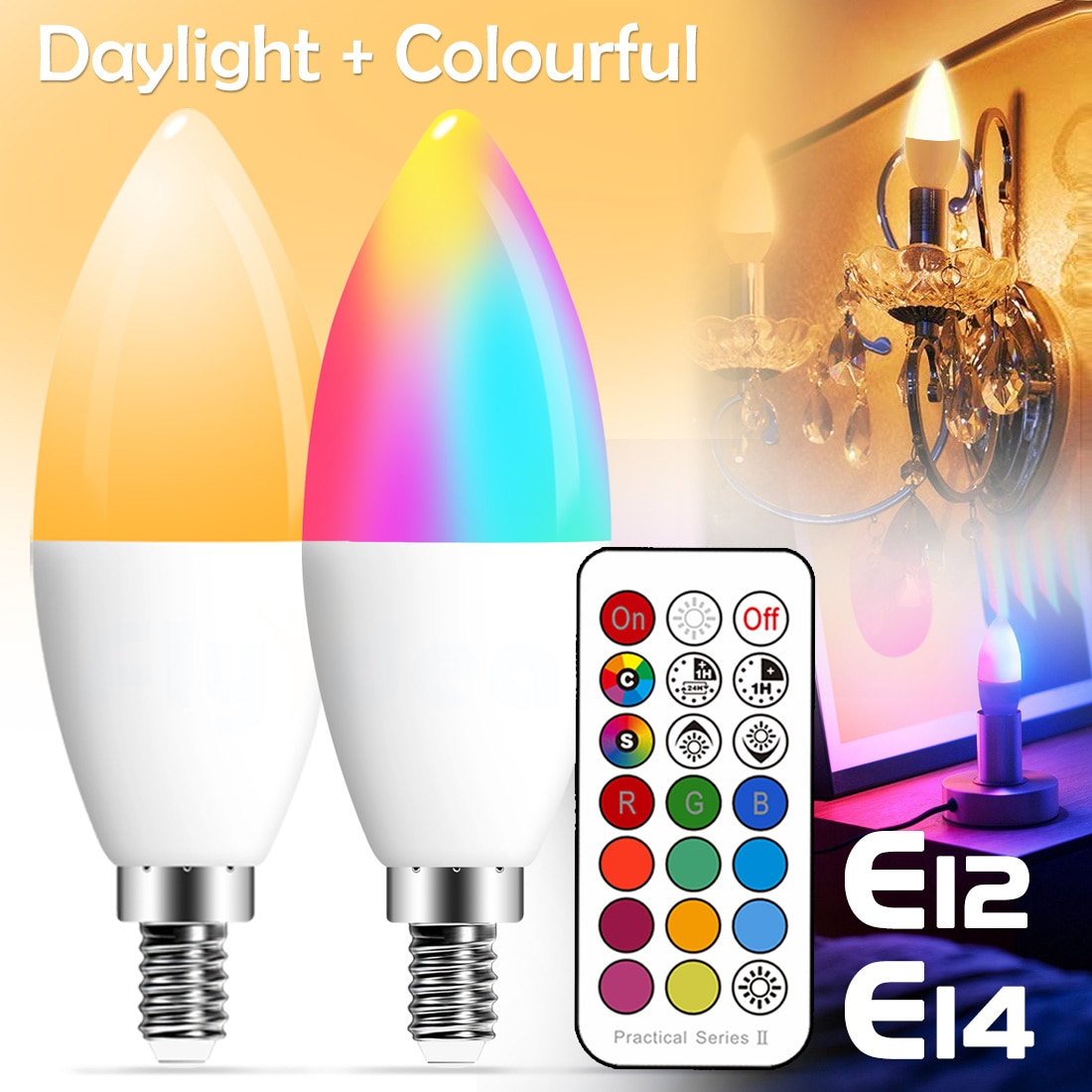 E14 LED żarówka w kształcie świecy kolor kryty Neon żarówka taśma RGB z kontrolerem oświetlenie 220V E12 możliwość przyciemniania inteligentna lampa dla domu