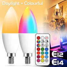 E14 LED Bulb Candle Color Indoor Neon Sign Light Bulb RGB Tape With Controller Lighting 220V E12 Dimmable Smart Lamp For Home
