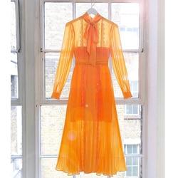 CAMIA Painel Rendas Vestido Amarelo De Renda Manga Longa Chiffon Decote Bow Magro Plissada Cintura Balanço Vestido Feminino 2019 Moda Outono