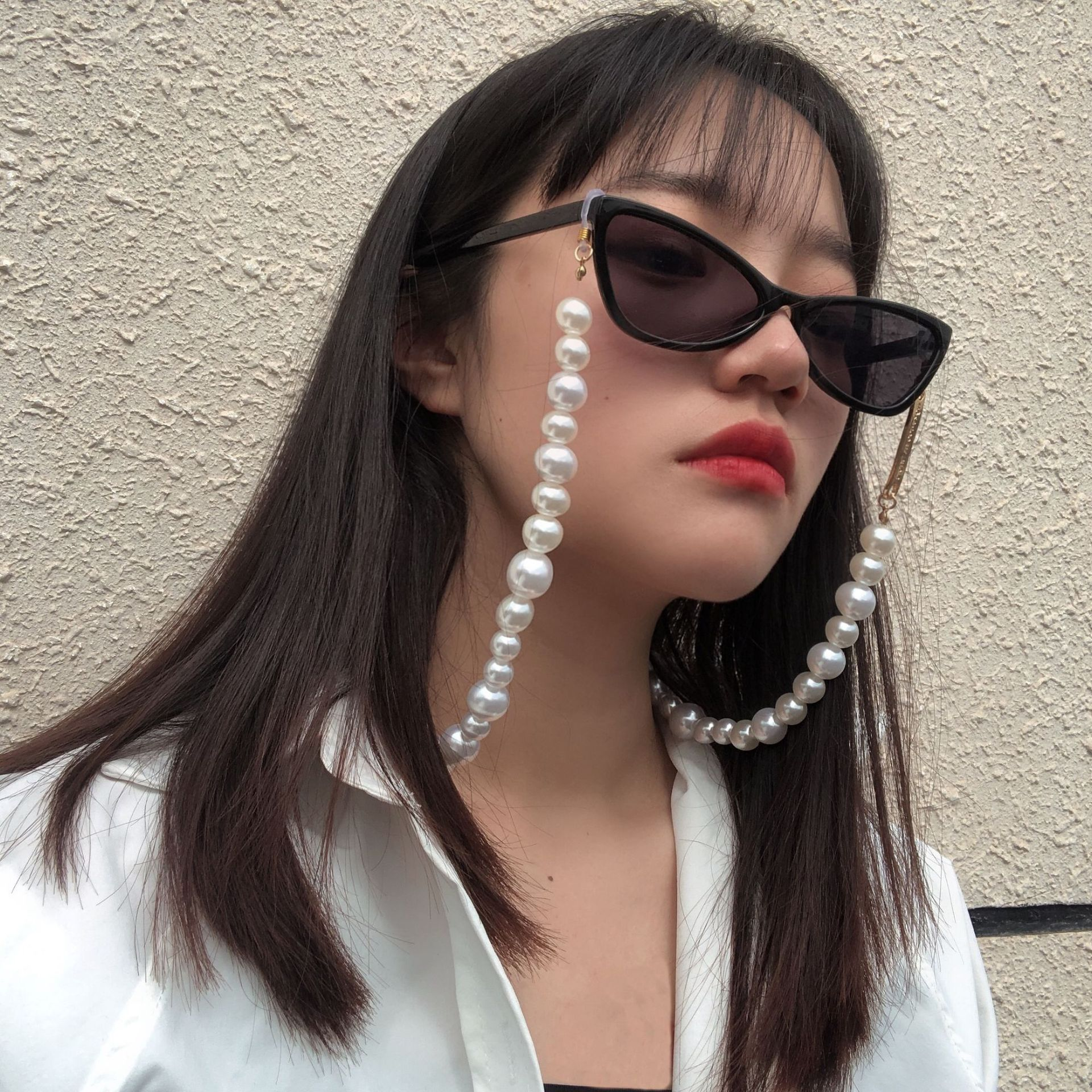 QIMING Water Pearl Lanyard Glasses Chain For Women Strap Cords Fashion Sunglasses Chains Elegant Gla