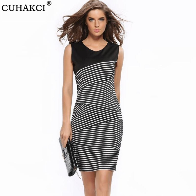 CUHAKCI Summer Dress Sleeveless Black And White Striped Sexy Dresses Casual Elegant Sheath Slim Knee Length Office Pencil Dress