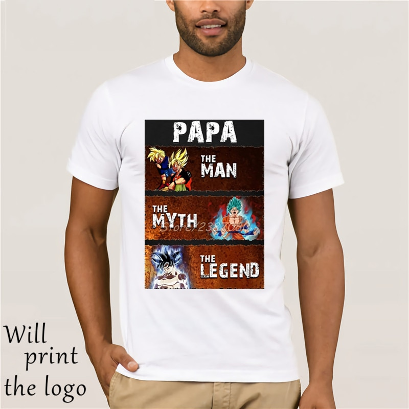 Футболка Goku Pope the myth man the legend, хлопковая футболка с короткими рукавами и персональным рисунком Dragon Ball Z, популярная уличная одежда большого ра...